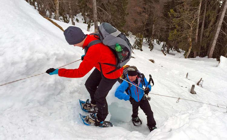 Abseilen Auf Schneeschuhen