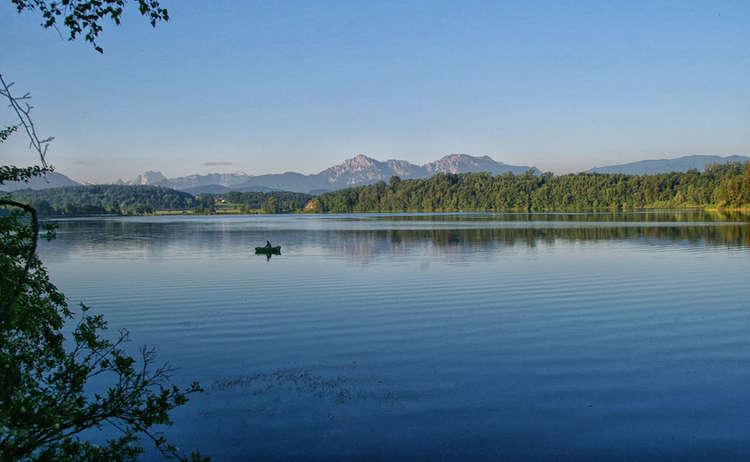 Abtsdorfer See Blick Zu Hochstaufen Und Zwiesel