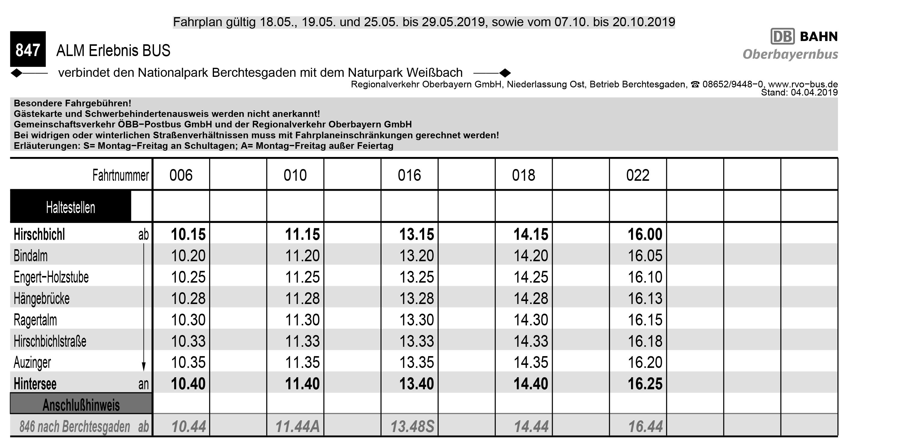 Fahrplan Almerlebnisbus 2019 Nachsaison 2