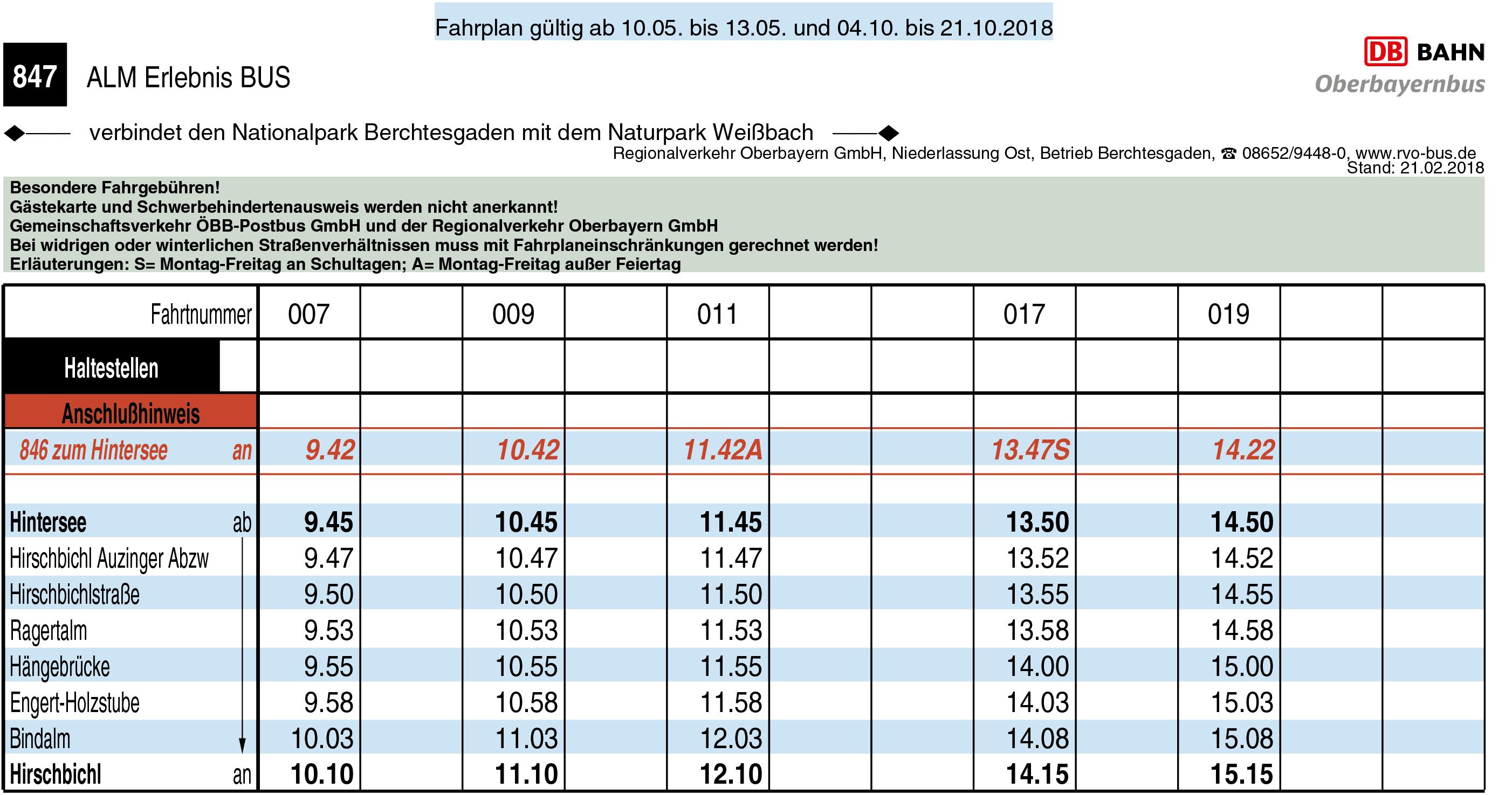 Almerlebnisbus Vor- und Nachsaison 2018