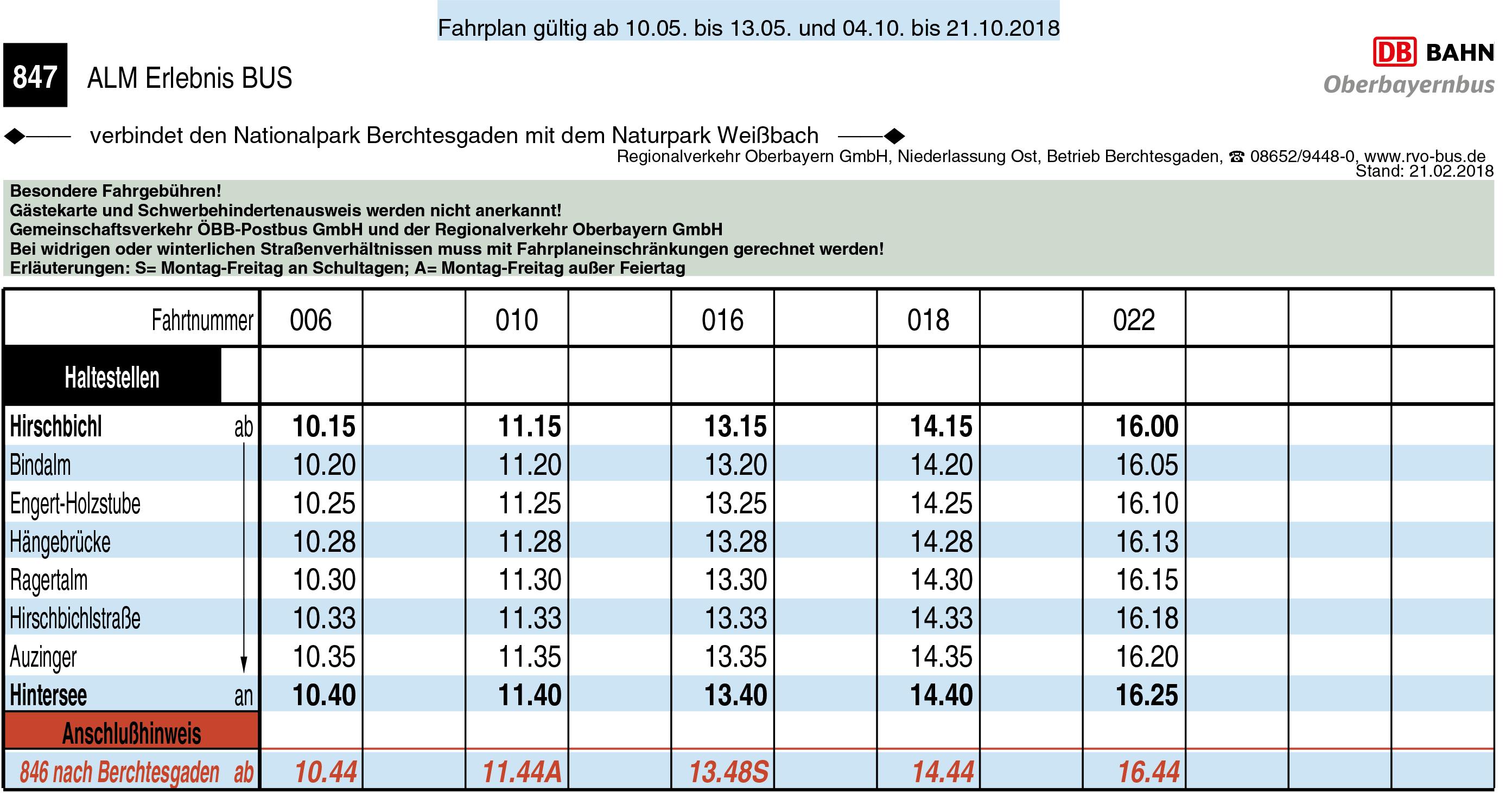 Almerlebnisbus Vor- und Nachsaison 2018 2