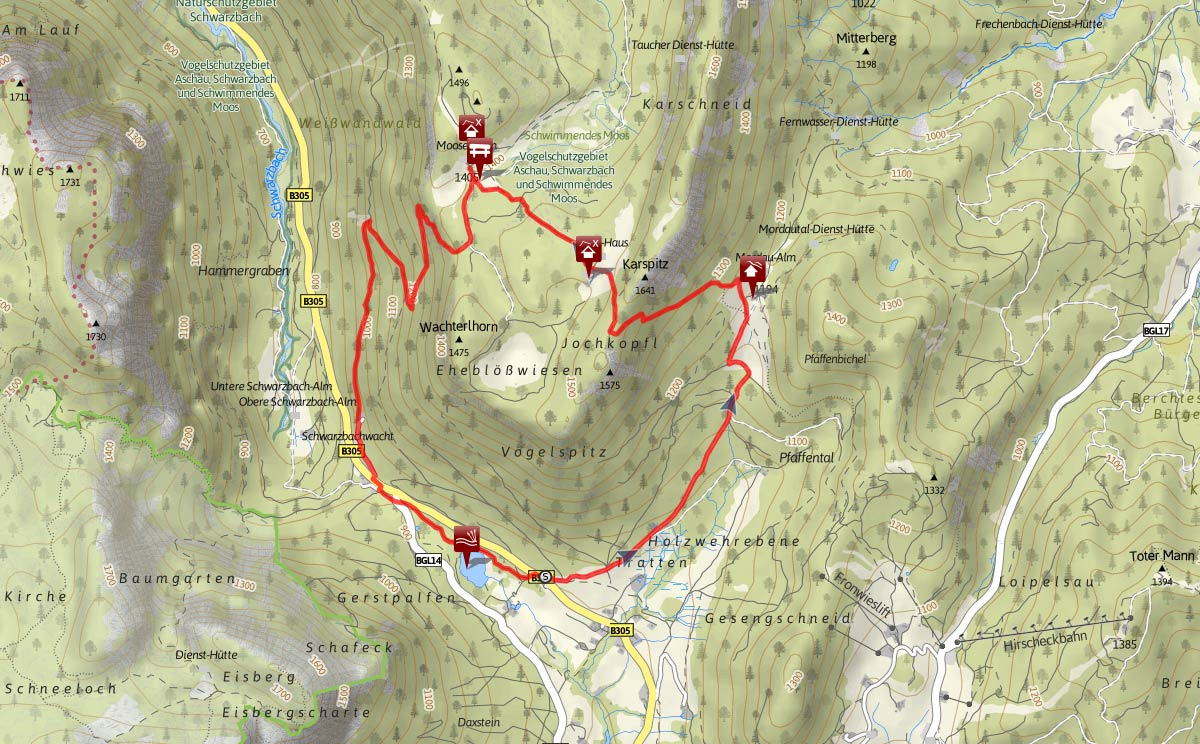 Streckenverlauf Almerlebnisweg Ramsau