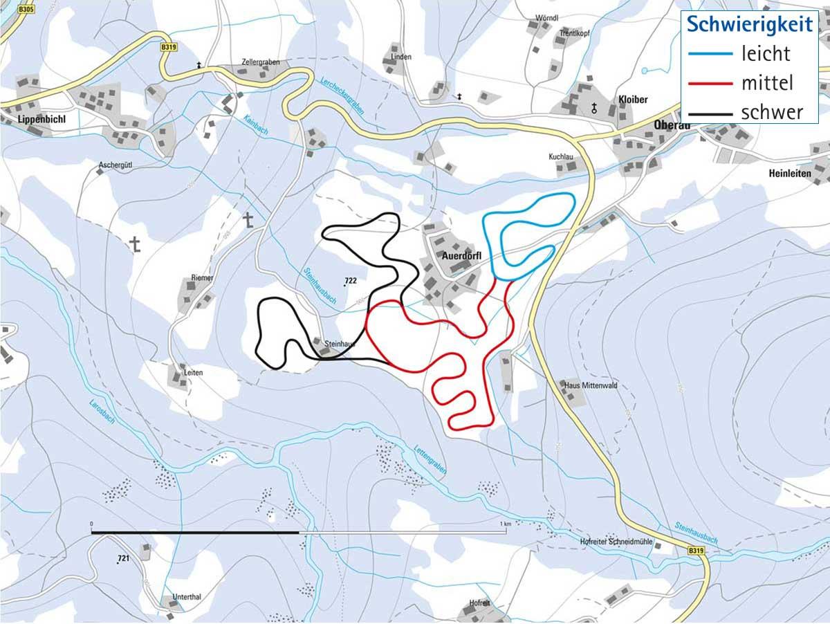 Langlaufloipe in der Oberau in Berchtesgaden