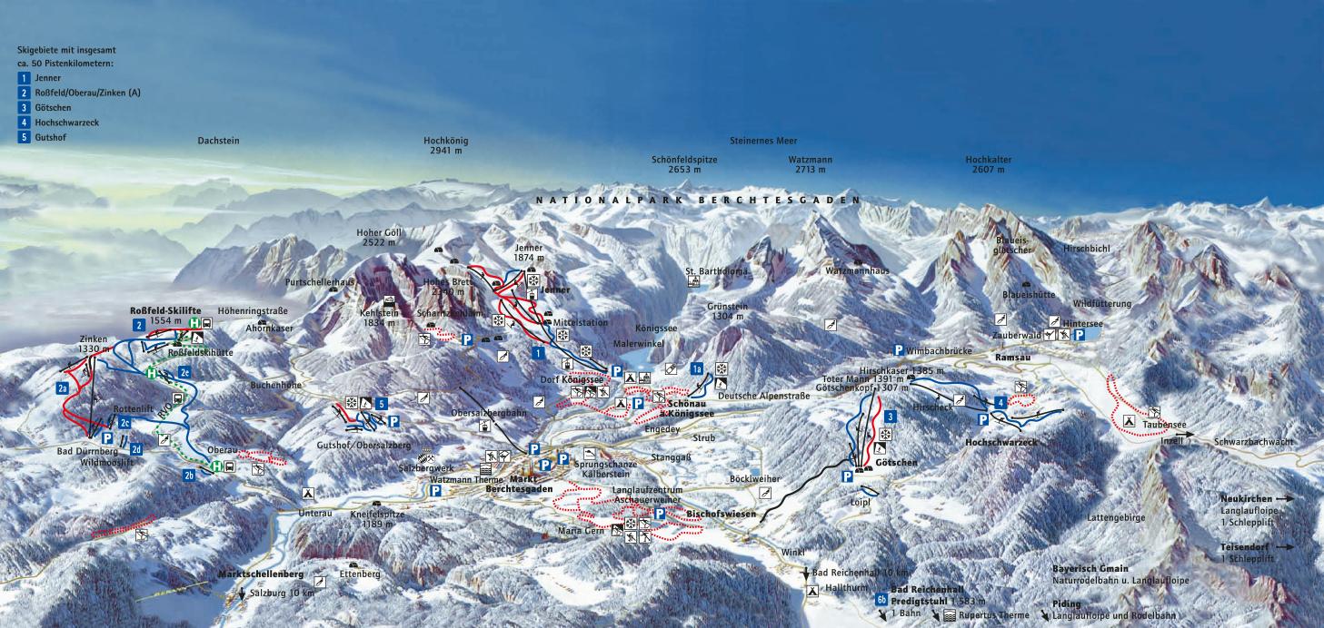 Panoramakarte: WIntersport in Berchtesgaden