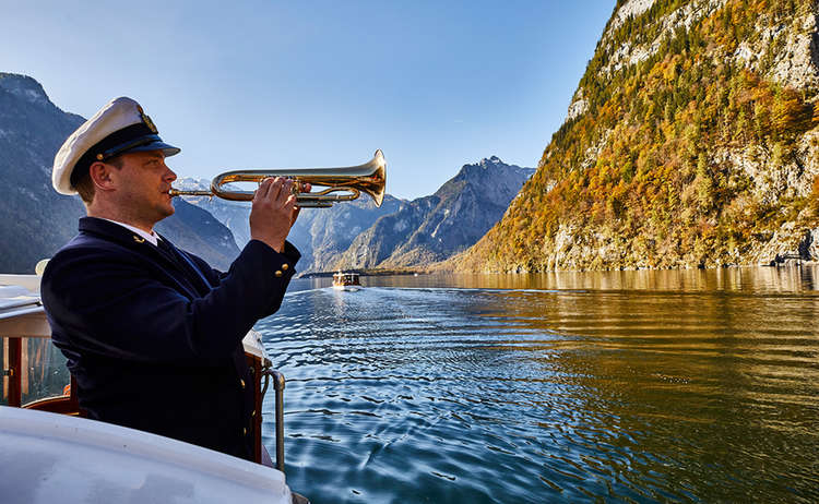Boatman Plays Trumpet Lake Koenigssee