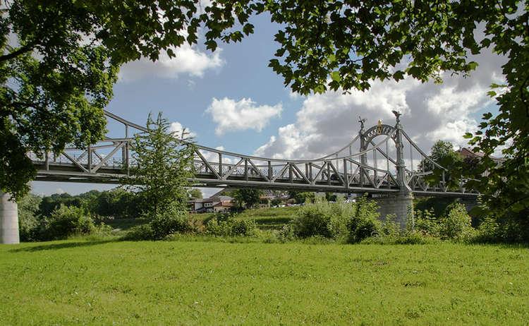 Bridge Over The Salzach River Town Laufen