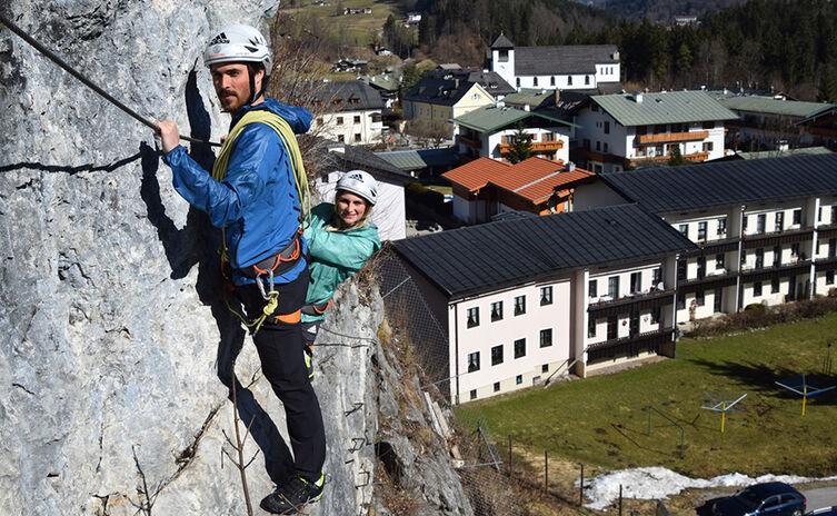 Der Übungsklettersteig der Klettersteigschule Berchtesgaden am Hanauerstein in Schönau am Königssee