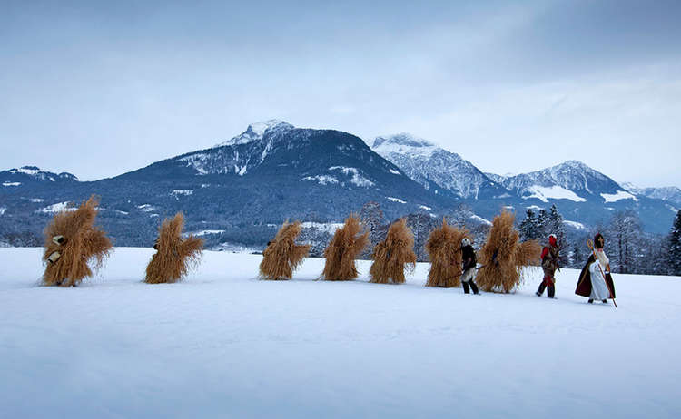 wrapped from head to toe in straw,: the Buttnmandl of Berchtesgaden