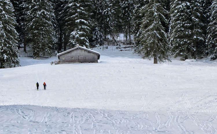 Skitourengeher auf dem Weg zur Hochalm an der Eckau