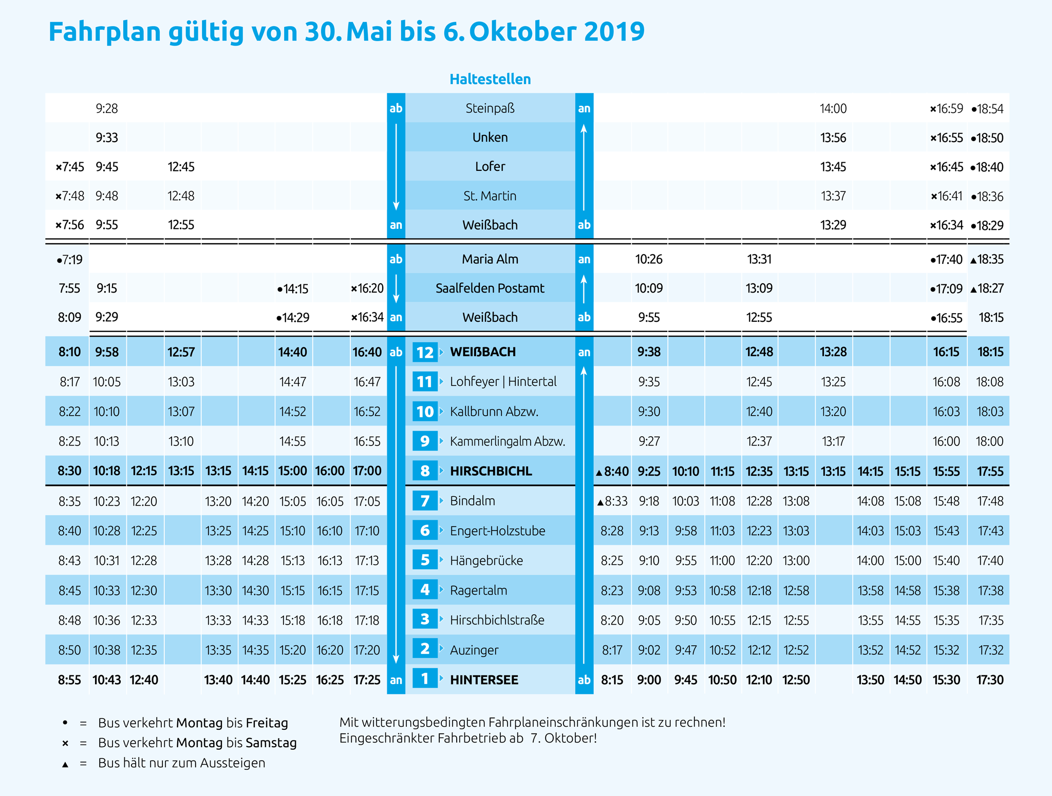 Fahrplan Almerlebnisbus 2019