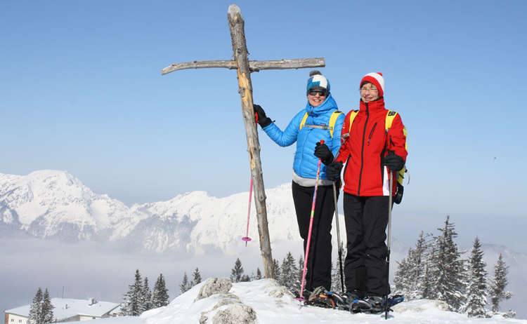 Gipfelkreuz Predigtstuhl Schneeschuhwandern
