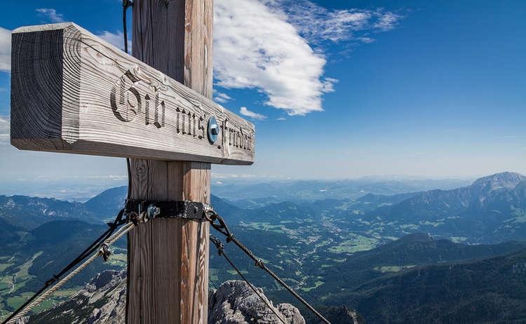 Gipfelkreuz Inschrift Hochkalter