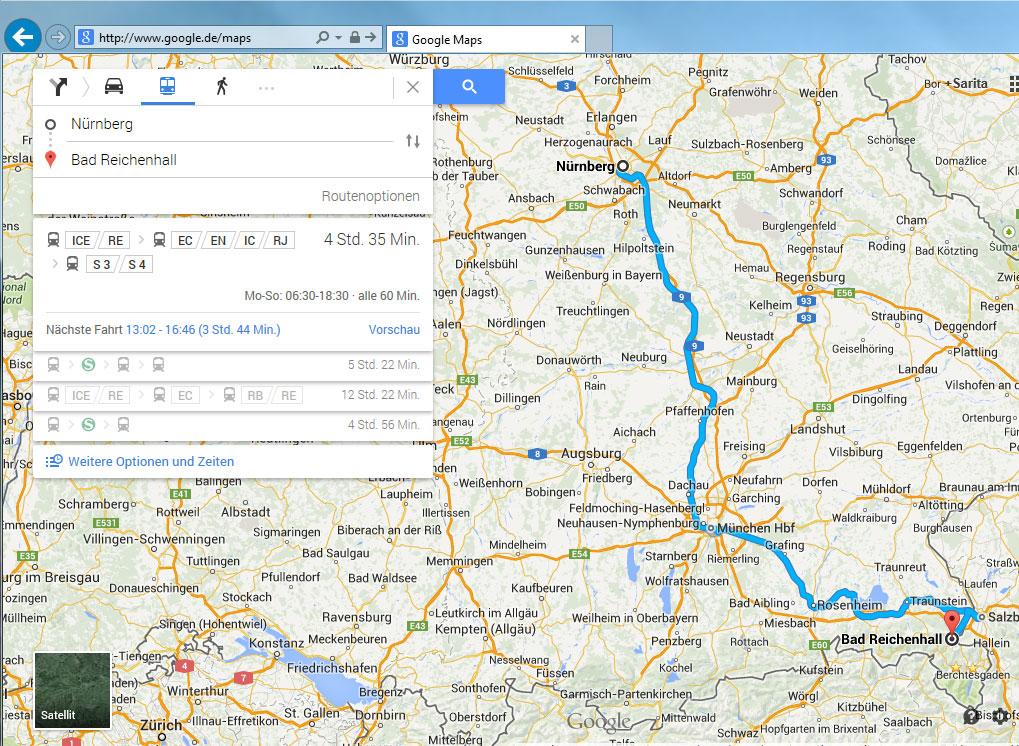 Bahnanreise planen mit google maps