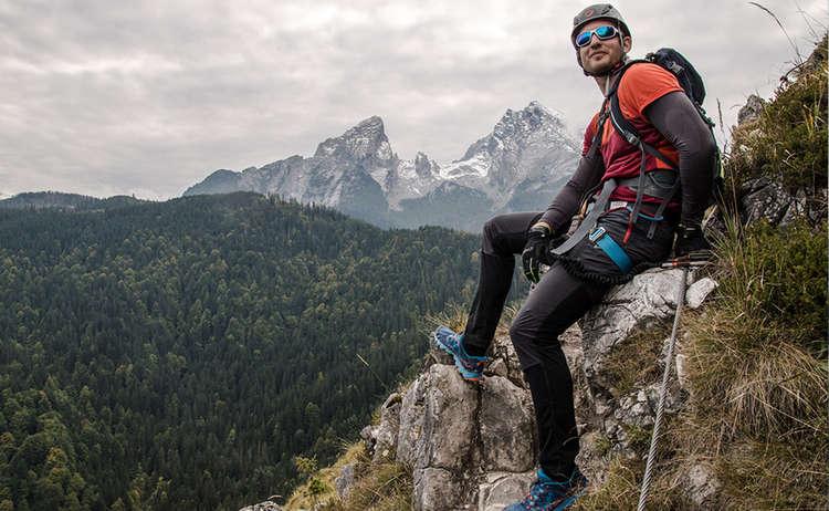 Am Ausstieg des Isidor-Klettersteigs auf den Grünstein