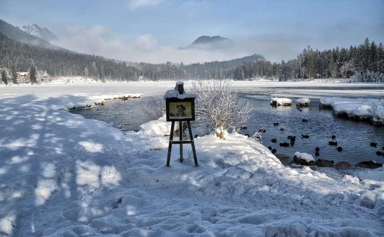 Hintersee Malerweg Schild Winterwandern Ramsau