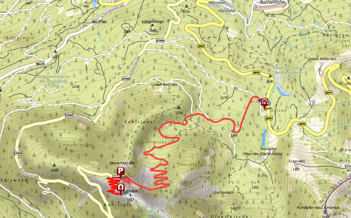 Streckenverlauf vom Ofnerboden auf den Kehlstein