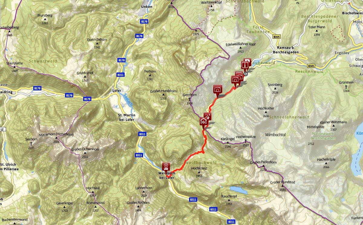 Streckenverlauf Klausbachtal