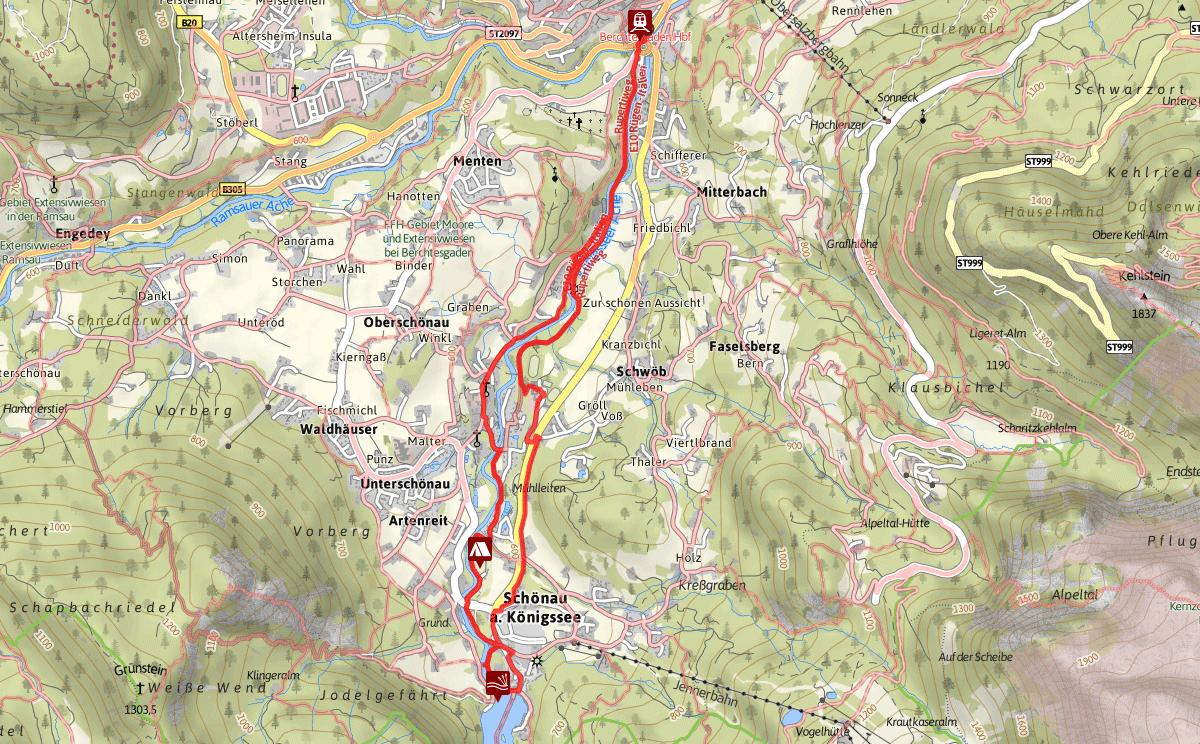 Wegverlauf Königsseer Fußweg