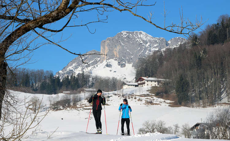 Langlaufen vor dem Untersberg