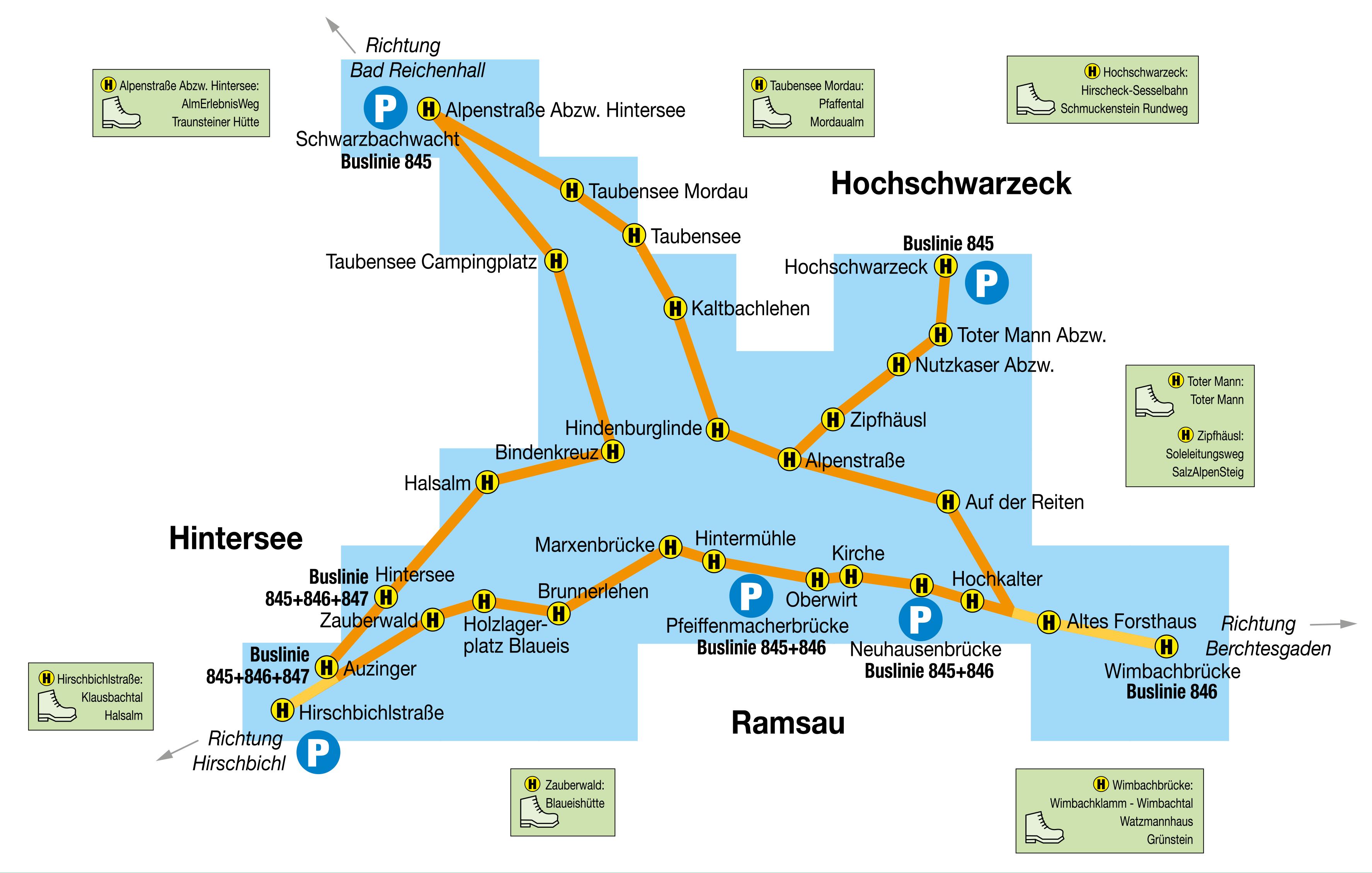 Liniennetzplan Wanderbus Ramsau