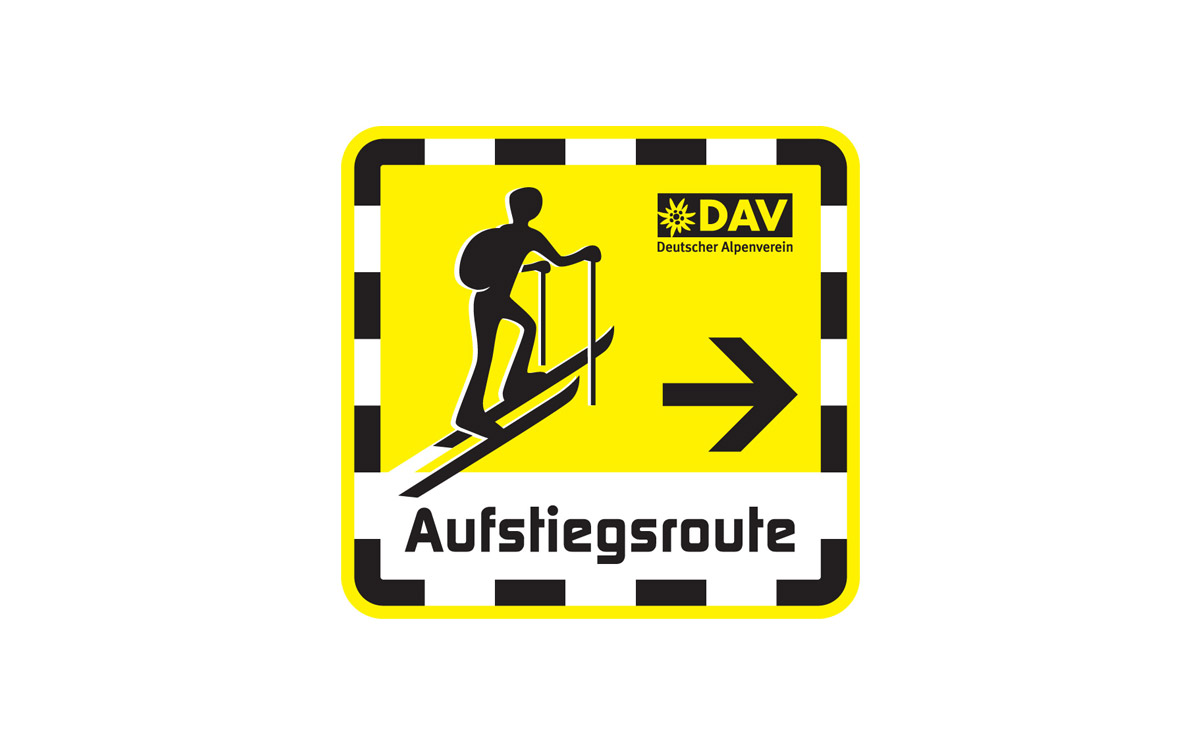 DAV logo, Skitouren mit Pisten