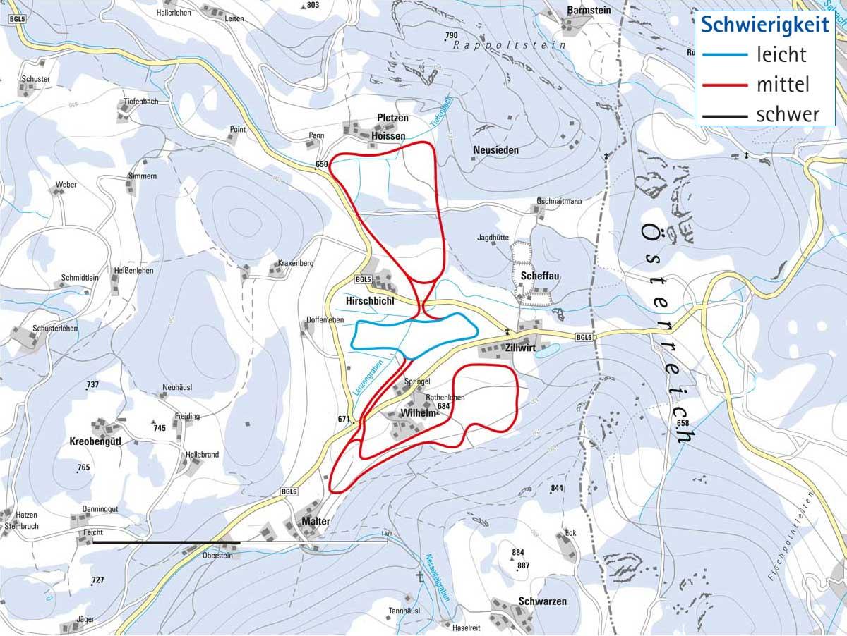 Langlaufloipe von Marktschellenberg und Scheffau