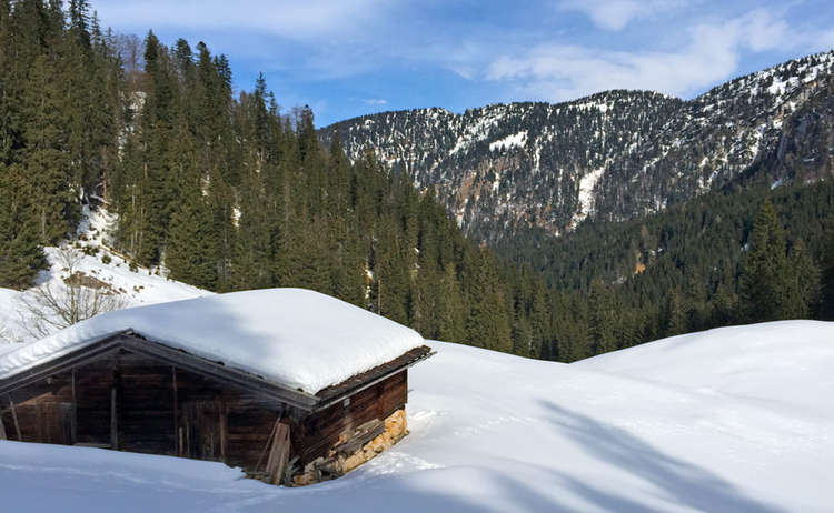 Mit Den Schneeschuhen Auf Die Alm