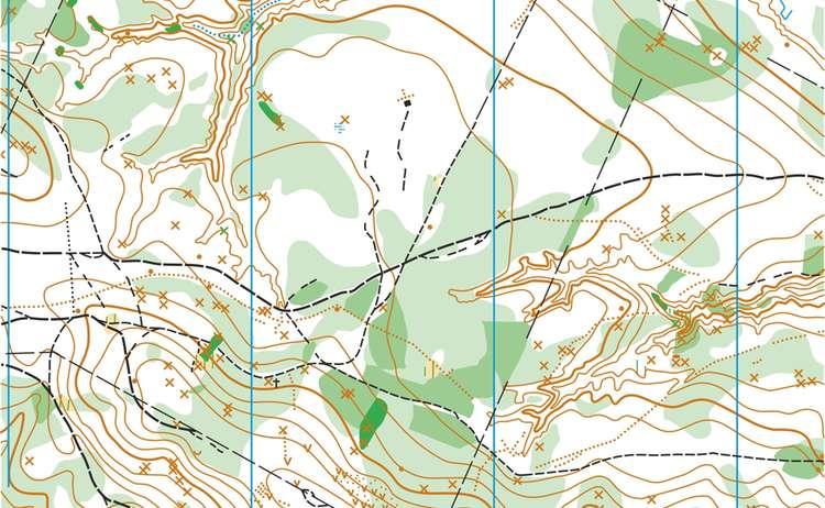 2) Die hier braun dargestellten Höhenlinien einer topographischen Karte stellen Berge und Hänge dar. Je dichter sie beieinander liegen, desto steiler ist der Berg in der Realität.