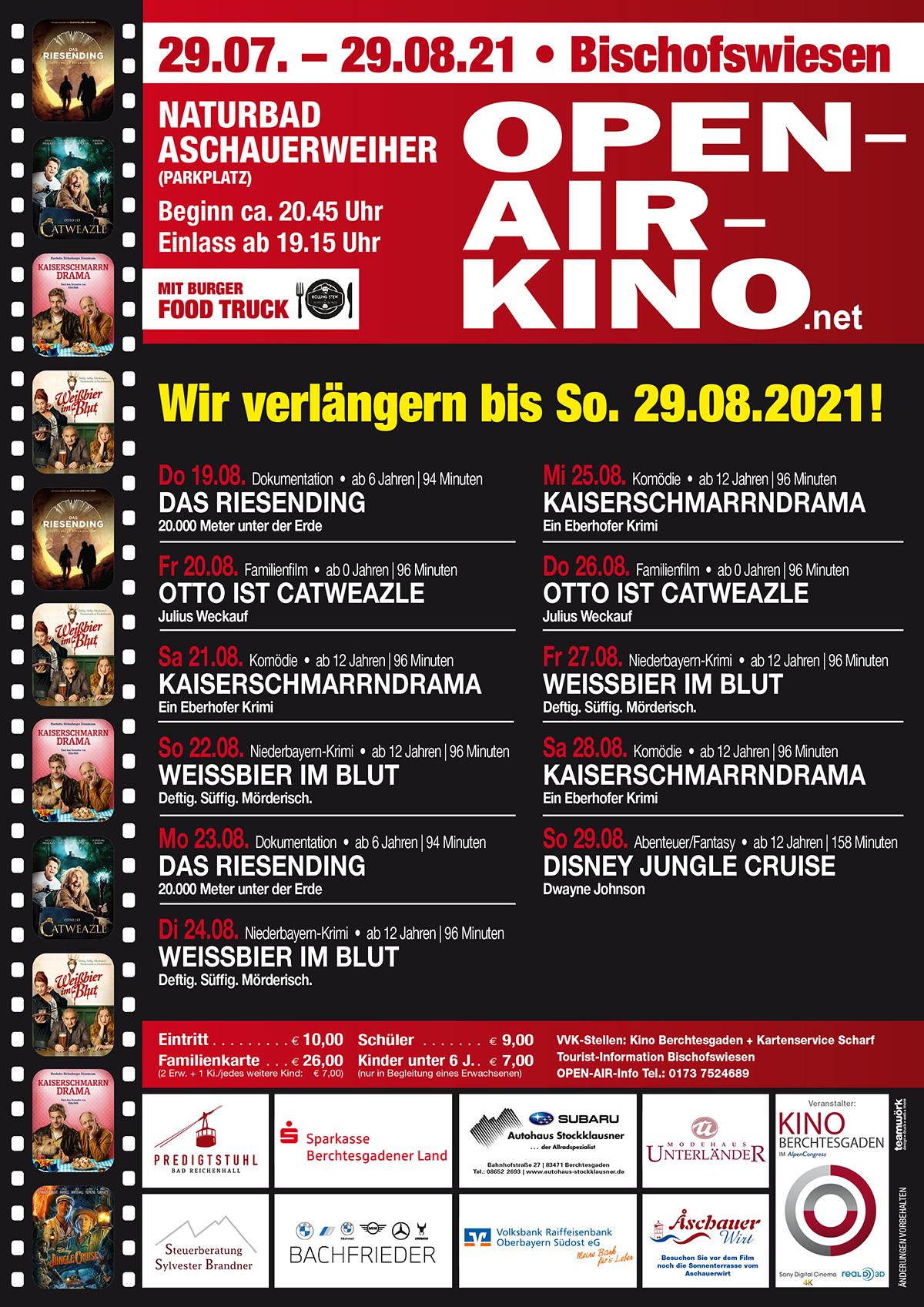Open Air Kino Berchtesgaden: Verlängerung bis 29.8.
