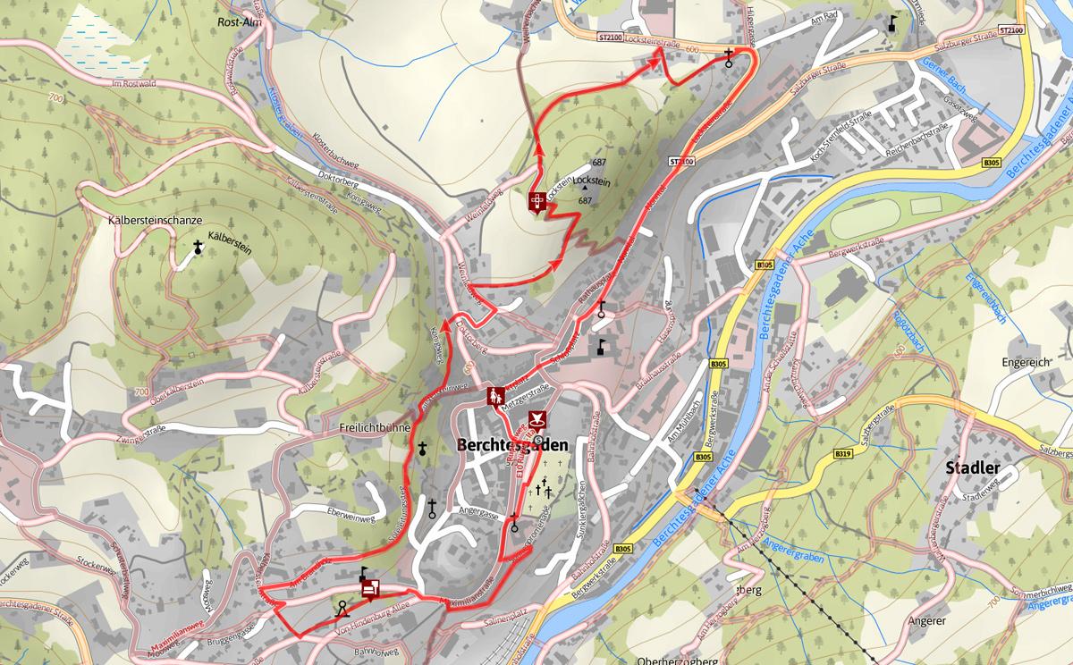 Plan Stadtrundgang Berchtesgaden