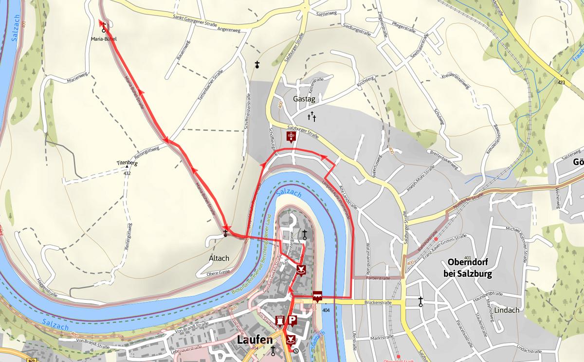 Plan Stadtrundgang Laufen Oberndorf