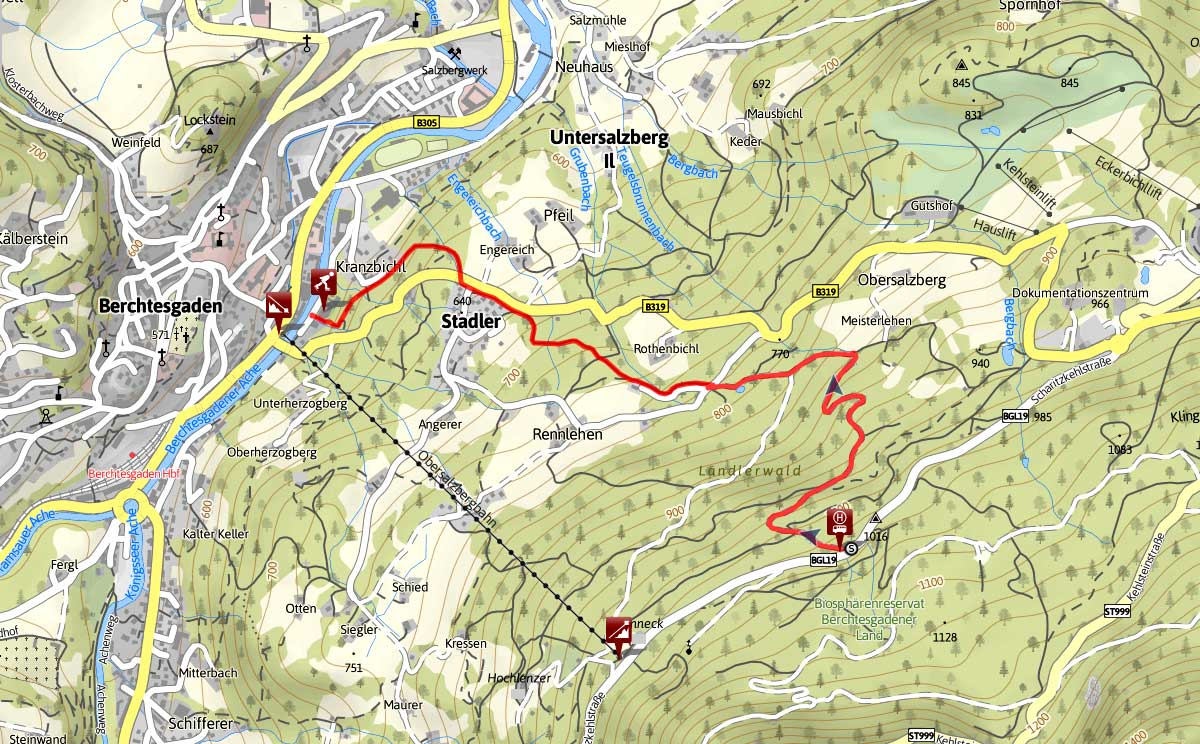 Streckenverlauf Rodelbahn Oberslazberg
