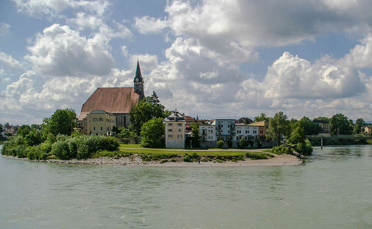The river Salzach with the town Laufen