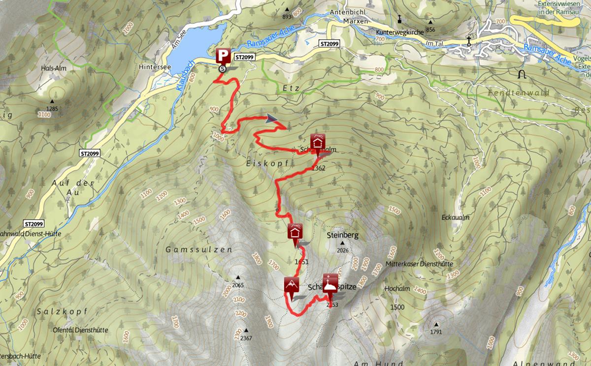 Schärtenspitze, Karte