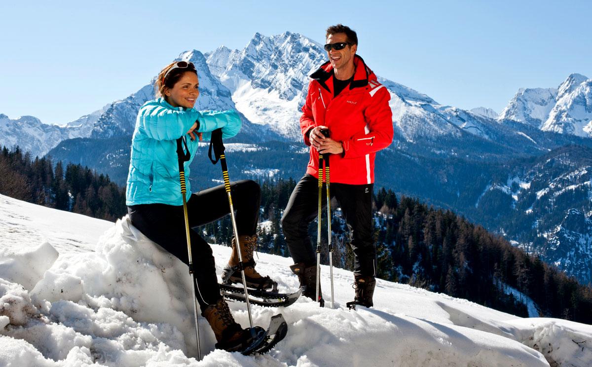 Schneeschuhwandern vor dem Watzmann