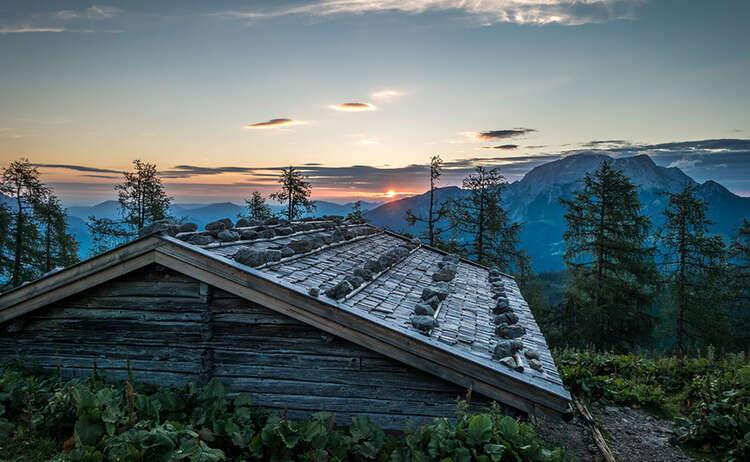 Aufstieg zum Watzmannhaus bei Sonnenuntergang