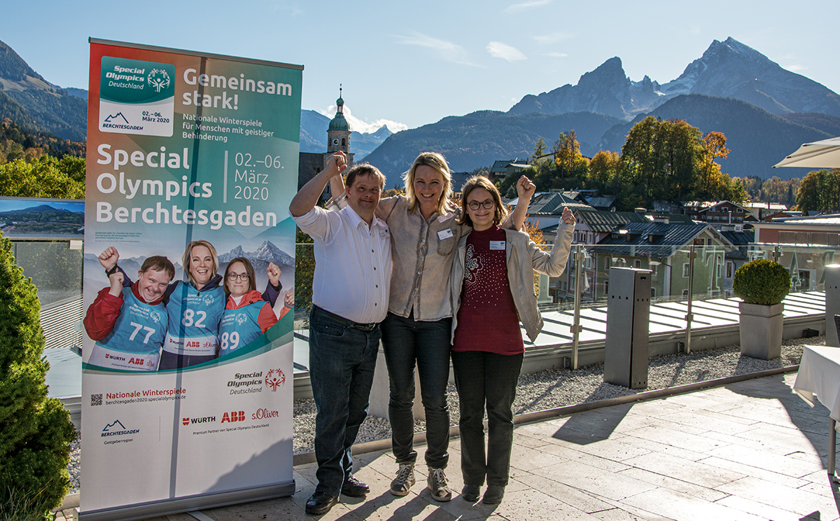 """Die """"Gesichter der Spiele"""" der Special Olympics Berchtesgaden 2020 - Athlet Paul Wembacher, Olympiasiegerin Hilde Gerg und Athletin Sandrine Springer."""