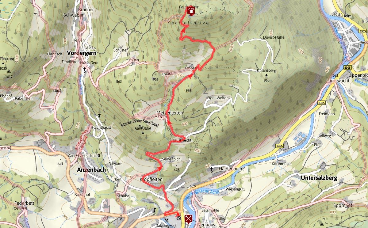 Topographie vom Salzbergwerk Berchtesgaden zur Kneifelspitze