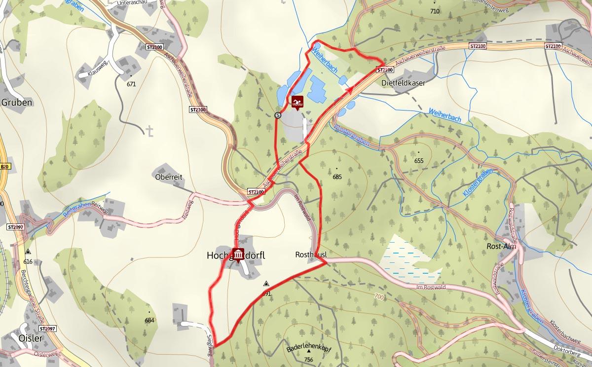 Wegverlauf Natur-Erlebnisweg Bischoswiesen