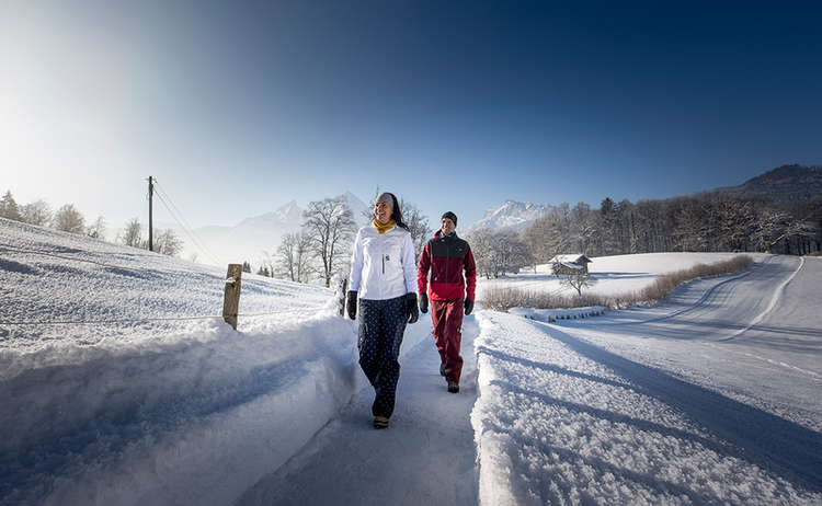 Geräumter Winterwanderweg in Bischofswiesen