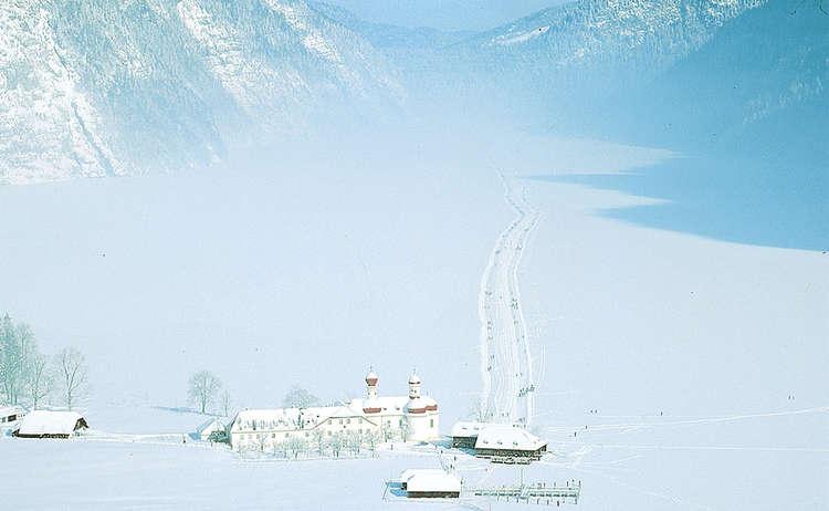 Zugefrorener Koenigssee Von Oben